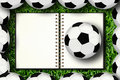 Notebook and soccer Stock Photography