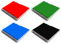 Notebook with spiral red green blue black isolated on white background Stock Photo