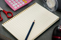 Notebook on table still life and stationery Stock Photos
