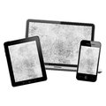 Notebook tablet pc and mobile phone isolated on white background Stock Photography