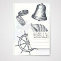 Notebook template with hand drawn nautical objects. Royalty Free Stock Photo