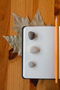 Notebook three stones orange pencil top leaf behind wood table Royalty Free Stock Photography
