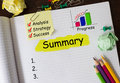 Notebook with tools and notes about summary Stock Photos