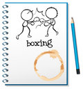A notebook with two boxers at the cover page illustration of on white background Royalty Free Stock Photo