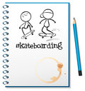 A notebook with two people skateboarding in the cover illustration of on white background Royalty Free Stock Photo