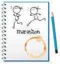A notebook with two runners in the cover page illustration of on white background Royalty Free Stock Images
