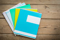 Notebooks for school lies on  wooden table Royalty Free Stock Photo