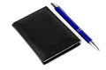 Notepad and blue ball point Royalty Free Stock Photo