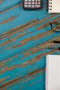 Notepad, calculator, pens and spectacles Royalty Free Stock Photo