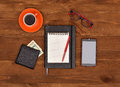 Notepad, cellphone, purse with money Royalty Free Stock Photo
