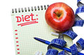 Notepad with diet plan and a measuring tape pills Stock Photos