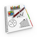 Notepad financial concept spiral notebook with charts and graphs Stock Images