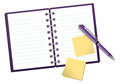 Notepad illustration with a pen and post it isolated on white Stock Photos
