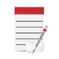 Notepad medical prescriptions and pills and thermometer notebook with tablets on white background Stock Images