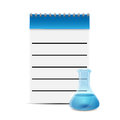 Notepad medical prescriptions and test tube notebook flask with blue liquid on white background Stock Photography