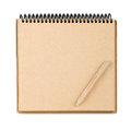 Notepad and pencil brown paper with small isolated on white Stock Photo