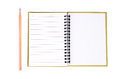 Notepad and pencil on white background Royalty Free Stock Photos