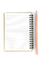 Notepad and pencil on white background Stock Photography
