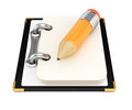 Notepad with pencil on white background d rendering illustration Royalty Free Stock Images