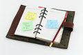 Notepad with postit about success three attached on a on white background Royalty Free Stock Photo