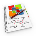 Notepad team collaboration teamwork concept illustration design over a notebook Royalty Free Stock Photo