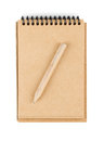 Notepad tiny brown paper with small pencil isolated on white Stock Photo