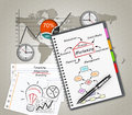 Notepad training concept marketing illustration design over a notebook Royalty Free Stock Images