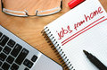 Notepad with words jobs from home Royalty Free Stock Photo