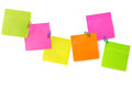 Notepaper postit color message with the paper clips on a white background Royalty Free Stock Photography