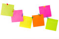 Notepaper postit color message with the vision paper clips and drawing pins on a white background Royalty Free Stock Photo