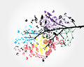 Notes illustration of a tree branch with colorful music Stock Images