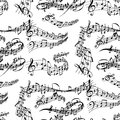 Notes music melody colorfull musician symbols sound melody seamless pattern background text writting audio symphony