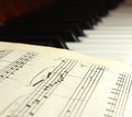 Notes on piano keys Stock Images