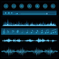 Notes and sound waves music background Royalty Free Stock Image