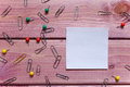 Notes, sticker, paper clips Royalty Free Stock Photo