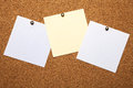 Notes three sheets for on a cork board Royalty Free Stock Images