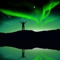 Nothern lights aurora boraaiis over mountains Royalty Free Stock Photos