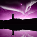Nothern lights aurora boraaiis over mountains Royalty Free Stock Image