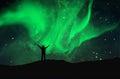 Nothern lights aurora boraaiis over mountains Stock Photography