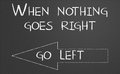 When nothing goes right go left written on a chalkboard Royalty Free Stock Image