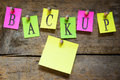 Notice board with the word backup wooden background Stock Photos