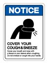 Notice Cover your cough and sneeze Symbol, Vector  Illustration, Isolated On White Background Label. EPS10 Royalty Free Stock Photo