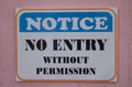 Notice no entry without permission Royalty Free Stock Photo