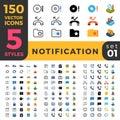 Notification 150 line flat isometric mobile web si