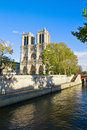 Notre dame cathedral church river seine paris france Stock Image