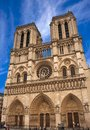 Notre dame cathedral facade of the in paris france Royalty Free Stock Images