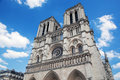 Notre dame cathedral paris france main facade view famous tourist attraction Royalty Free Stock Images