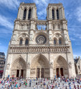 Notre dame cathedral paris gothic on the ile de cité with tourists Stock Photography