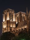 Notre dame cathedral in paris illuminated at night Royalty Free Stock Image