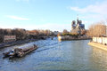 Notre dame cathedral of paris the seine and the Stock Photography